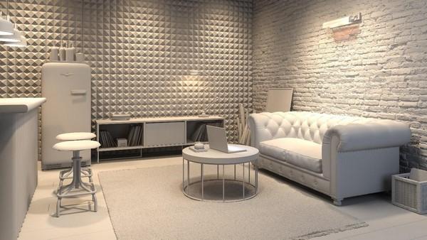 На фото – интерьер комнаты с шумоизоляцией